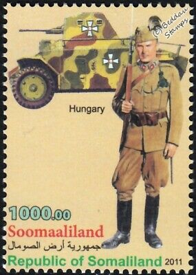 WWII Hungarian Royal Gendarmerie Sergeant Uniform Stamp / CSABA 39M Armoured Car