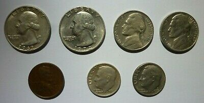 Lot of 7 United States Coins-(1940-1986)