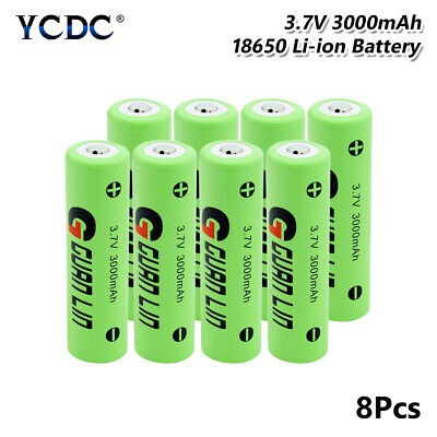 8Pcs Rechargeable Li-ion 18650 Battery 3.7V 3000mAh For Video Doorbell Torch CA