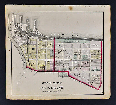 1874 Cuyahoga County Map Cleveland Ohio Downtown Superior Ontario St. Clair Ave