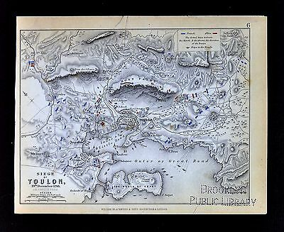 1850 Johnston Military Map - Siege of Toulon 1793 - France Riviera - Napoleon