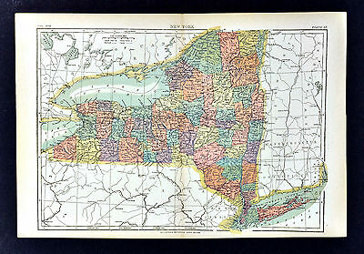 c1889 Encyclopedia Britannica Map - New York  NY City Niagara Buffalo Albany NYC