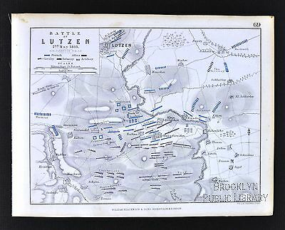1850 Johnston Military Map - Napoleon - Battle of Lutzen 1813 - Germany