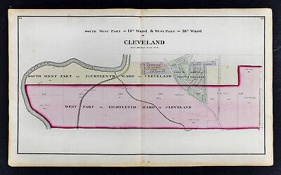 1874 Cuyahoga County Map Cleveland Ohio Wards Plat Owner Names Independence Road