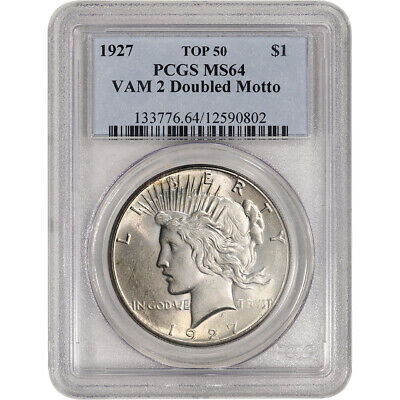 1927 US Peace Silver Dollar $1 - PCGS MS64 VAM 2 Doubled Motto Top 50