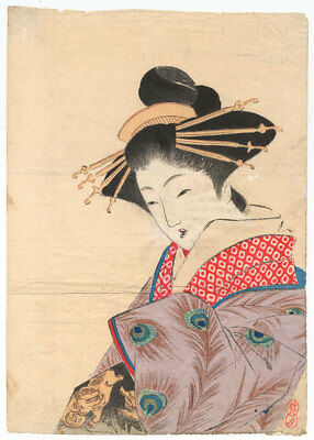 Genuine original Japanese woodblock print Keishu Kuchi-e Courtesan