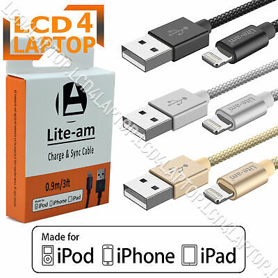 Apple Lightning USB Charger Lead Cable iPhone 8 7 6 5 X XS Max iPad CertifiedMFi