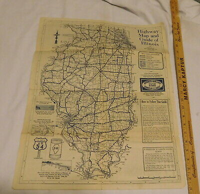 vintage Highway Map and Guide of Illinois for Service printed in USA
