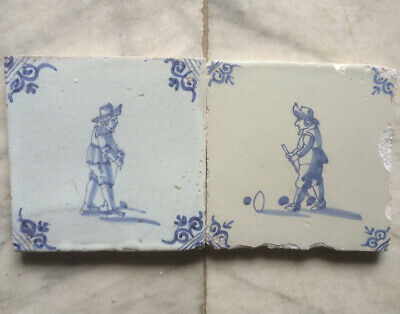 Antique 2 X Dutch Delft Tile People Playing Golf Circa 1650