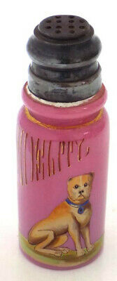 "Victorian Hand Painted Pink Glass Shaker  Dog  ""Fidelity"""