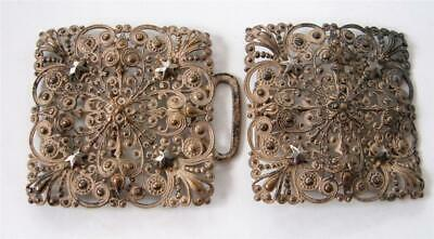 Antique Victorian Filigree Cut Steel Stars Large Sash Belt Buckle 2 pcs  Cast