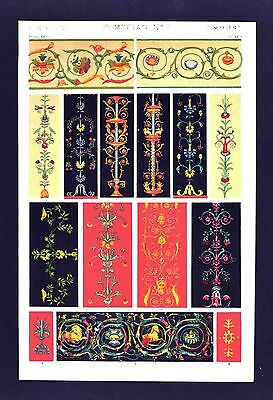 1868 Owen Jones Ornament Print - Pompeian No 2 - Pompeii Pilasters Friezes Roman