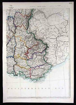 1860 Weekly Dispatch Map  South France - French Riviera