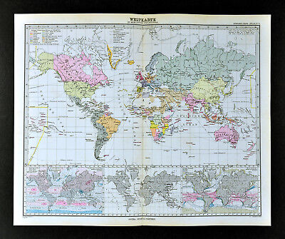 1892 Stieler Map World Africa Europe Asia Australia North South America Climate