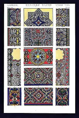 1868 Owen Jones Ornament Print Stain Glass No 3 - Various Cathedrals Middle Ages