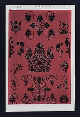 1868 Owen Jones Ornament Print Greek No 6 Vases British Museum & Louvre Etruscan