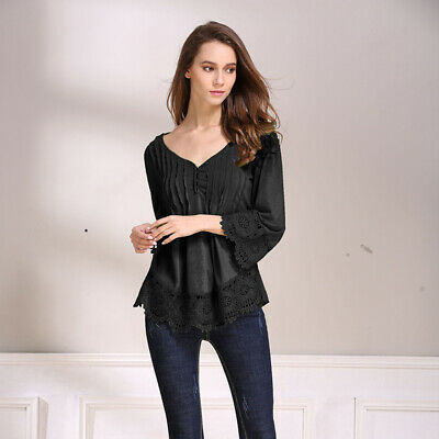 Women's Fashion Casual Top Lace Stitching T-shirt Tee Nine-point Sleeve Top LG