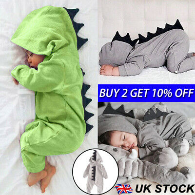 Newborn Infant Baby Boy Girl Dinosaur Hooded Romper Jumpsuit Clothes Outfit UK .