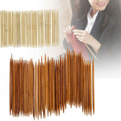 55pcs 11 Sizes 13cm Double Pointed Carbonized Bamboo Knitting Needles Practical