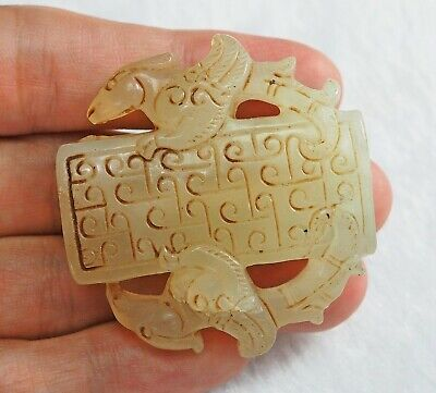 Antique Chinese Nephrite Hetian White Jade carved Amulet Pendant Chinese Phoenix
