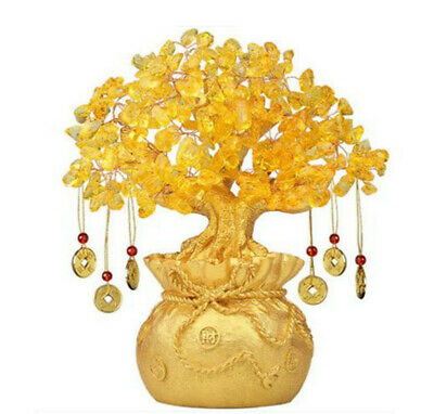 Feng Shui Money Wealth Tree Yellow Citrine Crystal Gem Spiritual Lucky Money Box