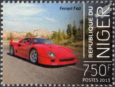 FERRARI F40 (Type F120) Sports Car Stamp (2013 Niger)