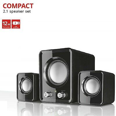 2.1 PC Speakers with Subwoofer for Computer Laptop Compact System 12W USB Powere