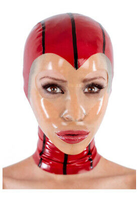 Latex Catsuit Rubber Gummi Face Red Female Sexy Hood Mask Cool Customized 0.4mm