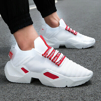 f3c9633a0da Platform Clunky Sneakers Lightweight Breathable Sports Shoes Men's Running  Shoes