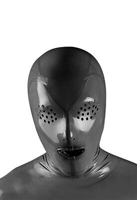 Latex Hood Fly Eye Full Face Mouth Condom Cool Uniqu Rubber Mask Customized .4mm