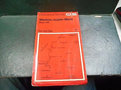 "vintage one inch paper O/S map sheet 165 ""Weston-Super-Mare"""