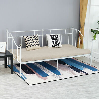 69e117f42b4a 3ft Single Bed White With Crystal Finials Metal Bed Frame Day Bed Modern  Bedroom