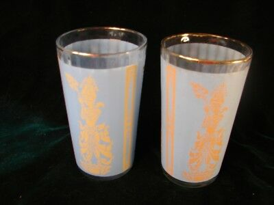 Two Vintage Oriental Blue Glass  Tumblers      2 Tumbler Drinking  Glasses