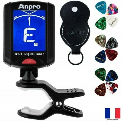 Accordeur Guitare Folk Acoustique Basse Violon Tuner Chromatique + Médiators