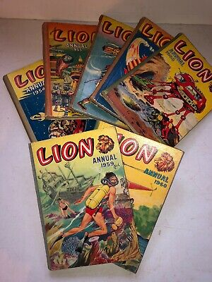 Collection Of 7 Lion Annuals 1954-1960 Complete Run All Unclipped Boys Books