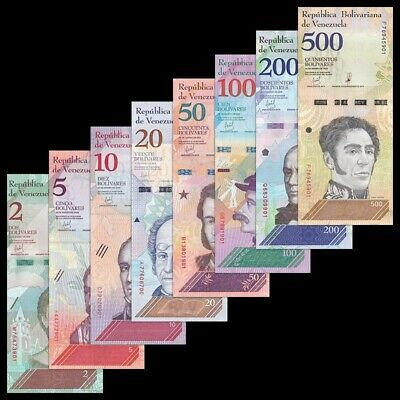 Venezuela Full Set 8 PCS, 2+5+10+20+50+100+200+500 Soberanos, 2018, New, UNC