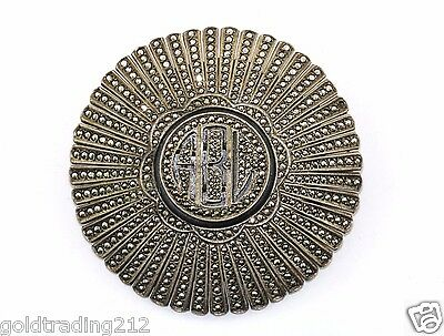 Vintage Abl Initial Marcasite Ornate Round Brooch Pin 925 Sterling Bb 430