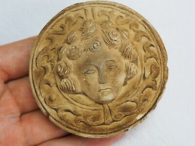 Large Ancient Original Paper Weight Stone Carved Goddess Venus Face Cameo Carved