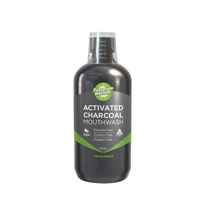 6 x 500ml Essenzza Fuss Free Naturals Mouthwash Activated Charcoal Peppermint
