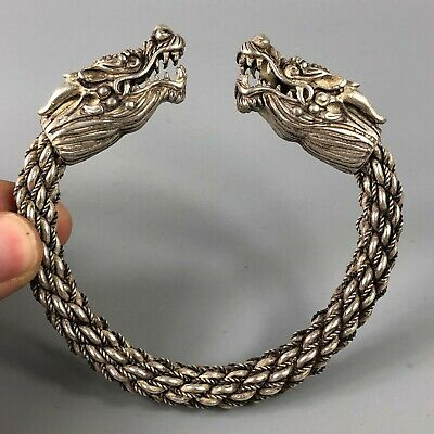 Collectible Chinese Old Tibet Silver Handwork Antique Lucky Dragon Rare Bracelet