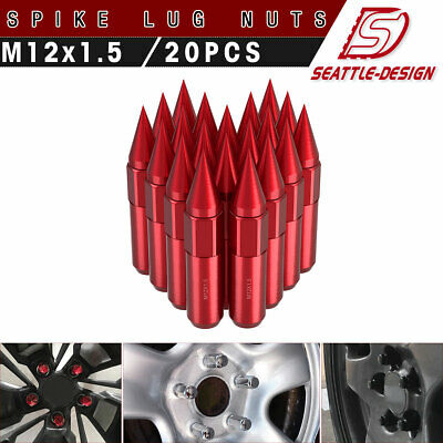 20 Red Aluminum 12X1.5 Extended Capped Spike Lug Nuts for Mazda Honda Ford Acura