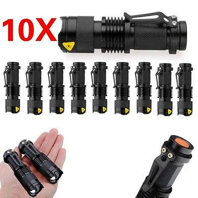 10pcs 10X Mini Q5 LED Flashlight Torch 1200LM Zoomable Lamp Light Camping BS