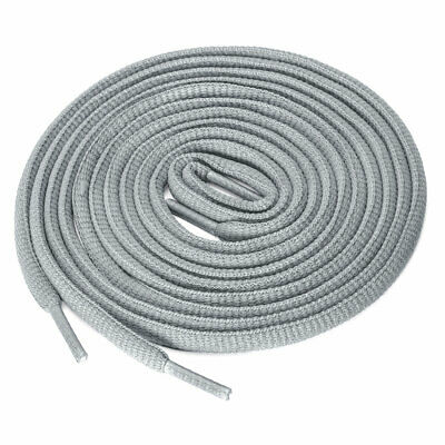 2 Pairs Athletic Unisex Oval Half Round Shoelaces Sneakers Light Gray 140 cm/55""