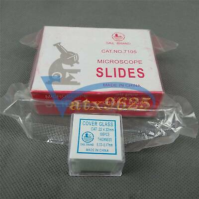 50PCS with 100PCS Square Cover Glass Blank Microscope Slides new