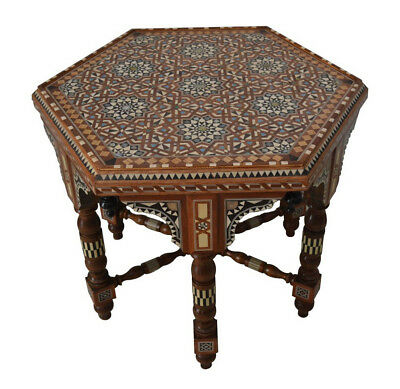 Amazing Handcrafted Mother of Pearl Inlaid Moroccan Side Coffee Table