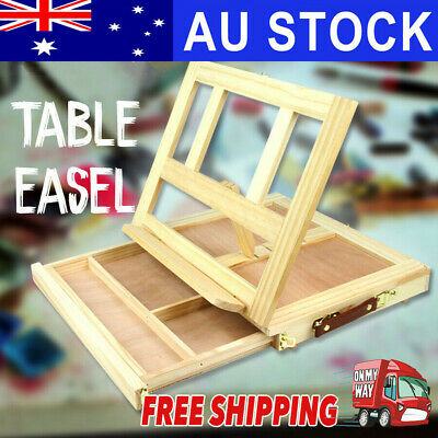 AUS Portable Folding Table Easel Wood Artist Easel Painting Stand Craft +Drawer