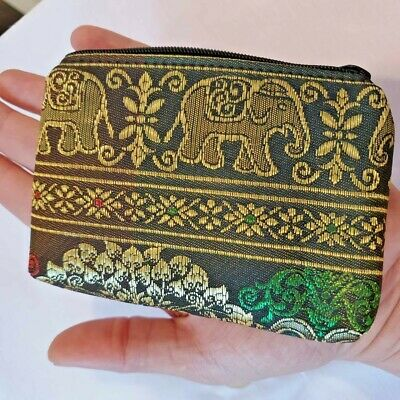 Lot Wholesale Thai Elegant Lady Purse Silk Handmade Coin Zip Clutch Bag Souvenir