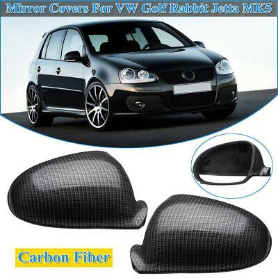 2Pcs Carbon Fiber Style Rearview Side Mirror Trim Cover For VW Golf MK5