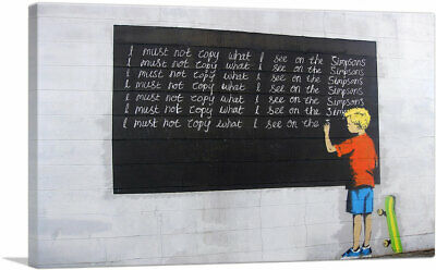 ARTCANVAS I Must Not Copy What I See on Simpsons Canvas Art Print by Banksy