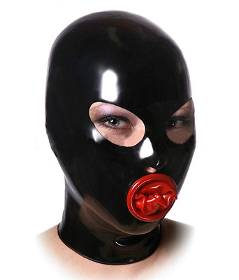Latex Rubber Gummi Catsuit Hood Oral Shealth Seamless Wear Masks Customized .4mm